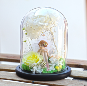 Valentine's Day creative gift for girlfriend immortal flower in glass gift box finished preserved rose FLY-Angel Love
