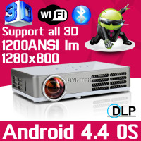 Bluetooth 4.0 Android 4.4 Wifi 1200ANSI HDMI VGA USB TF Blue Ray 3D HD 1080P Video LED Long Life mini Projector Proyector