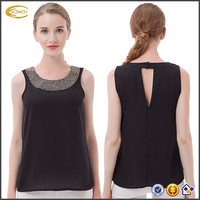 Ecoach Wholesale OEM Women O-Neck Leisure Tank Top Elegant Beading Sleeveless blouseFashion slit at the Back in Tanks & Camisole