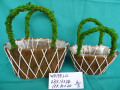 Sisal and moss flower pot for garden decoration