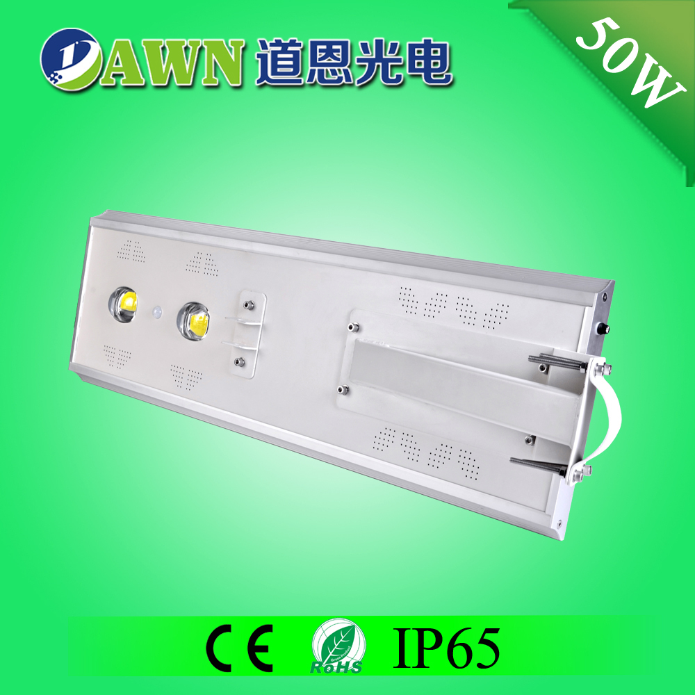 50W Sunpower COB long lifespan integrated all in one solar led street light gallium arsenide solar cells cost par 56 led convers
