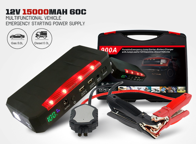 15000mAh 55.5Wh 60C multi-functional powerbank portable Car Jump Starter for 12v diesel and gasoline