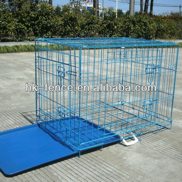 "48"" Folding Dog Crate Cage Kennel With Metal Pan"
