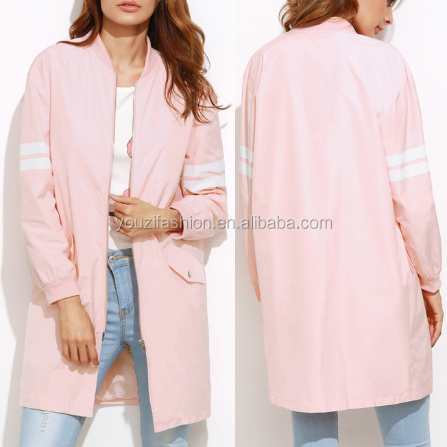 Pink bomber jacket with front zip fancy jackets for women fashion spring autumn women jacket model