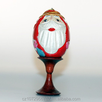 Carved New Year Egg, a wooden Christmas egg, Santa wooden egg in a mix of colors, NI02