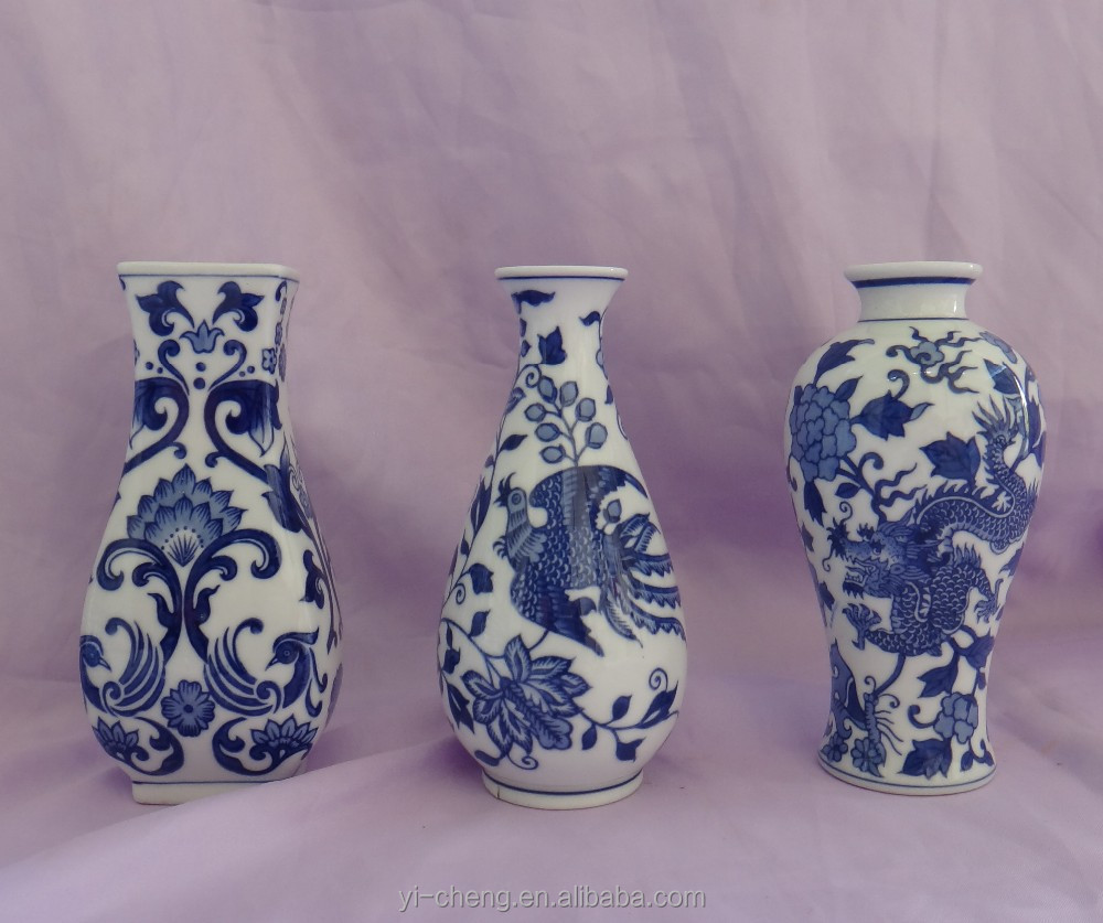 Antique small blue and white porcelain vases three pieces set