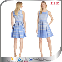 new fashion blue stripes round neck pleating A-line above knee short prom dresses
