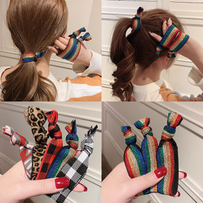 Fashion Leopard Rainbow Printed Glitter Knotted Custom Elastic Hair Tie for Women
