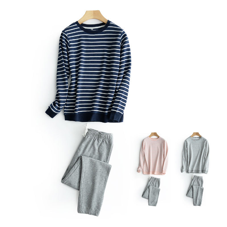 Winter fashion women casual stripes knit pajamas