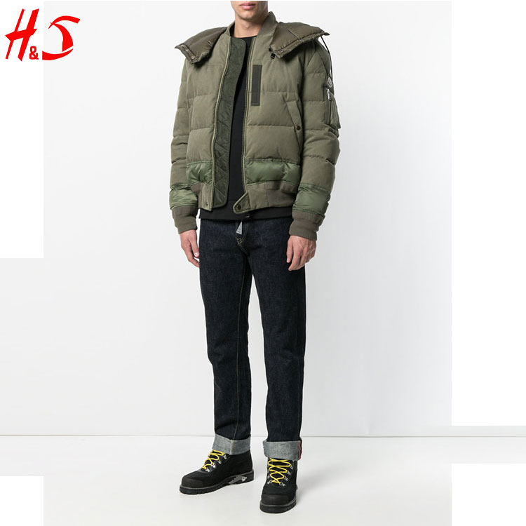 Men Plain Winter New Design Fashion Lightweight Down Bomber Jacket With Hooded