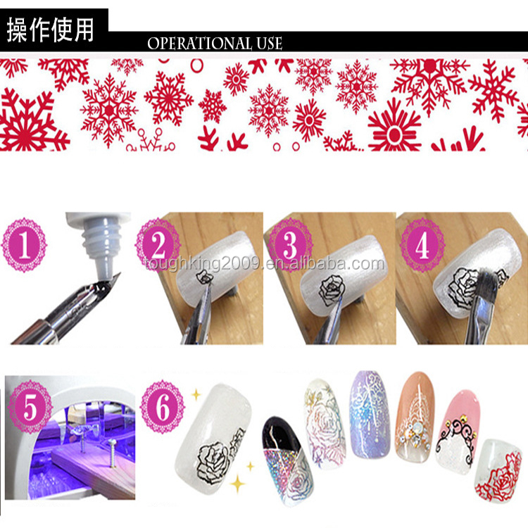 Two Way Nail Art Pen Polish Drawing And Dotting Tools With 5pcs Different Pen Point Inside