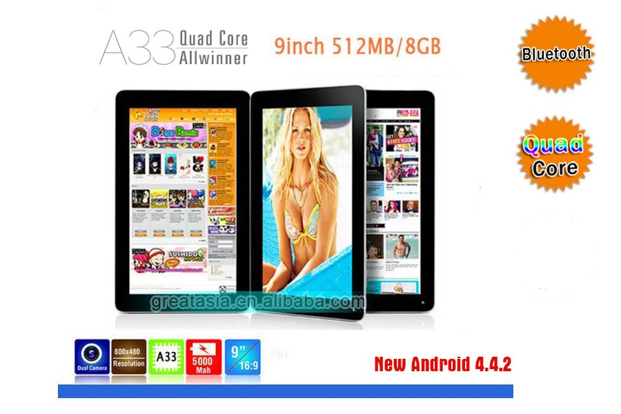 9 Inch Android Tablet Pc With 3D Games,Quad Core Android Tablet pc With Bluetooth Cameras