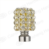 Acrylic simple bright diamond curtain rod pole finial end cap