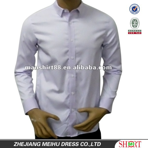 Newest style 100% Cotton White High quality Business checked collar Slim fit shirt for men with Two back darts