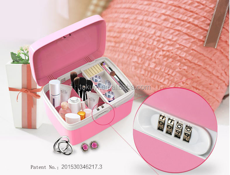 personalized makeup boxes, Beauty Cosmetic box (Pink)