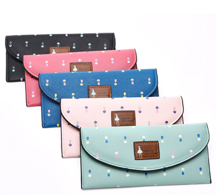 China factory cheap designer dress girl pattern cute wave point pu leather ladies purse, women purse, wholesale wallet