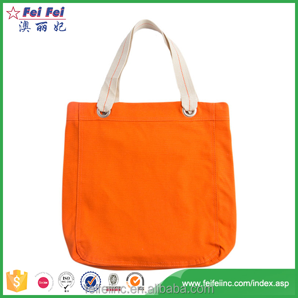 Manufacturer best material women canvas tote bag with outside pockets