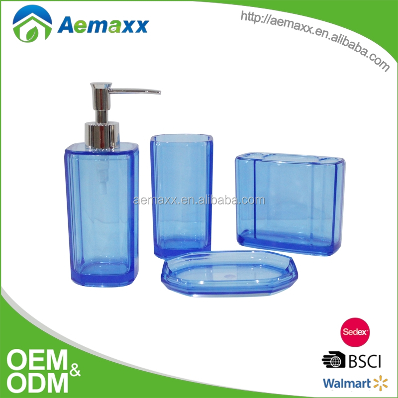 Nice transparent 4pcs blue color plastic bathroom set