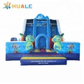 Factory price large double lane inflatable dry slides for sale