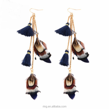 Boho Jewelry Exaggerate Feather Tassels Drop Earrings Ethnic Vintage Earrings