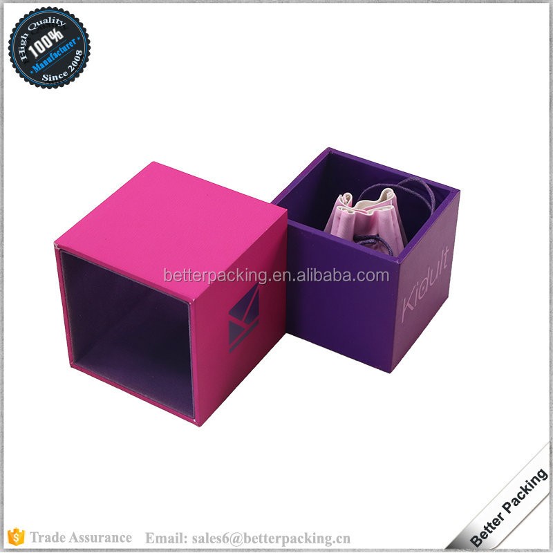 JBS312R Lovely Pink Drawer Gift Jewelry Ring Box with Leather Pouch