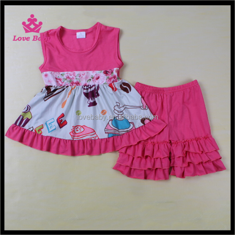 hot pink kiss prints fairy grils summer sports clothes triple ruffle shorts clothes wholesale