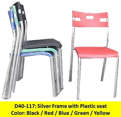 Plastic seat chairs with metal frame