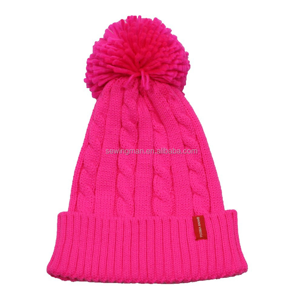 Fashion acrylic cable knit big bobble cuffed neon hat