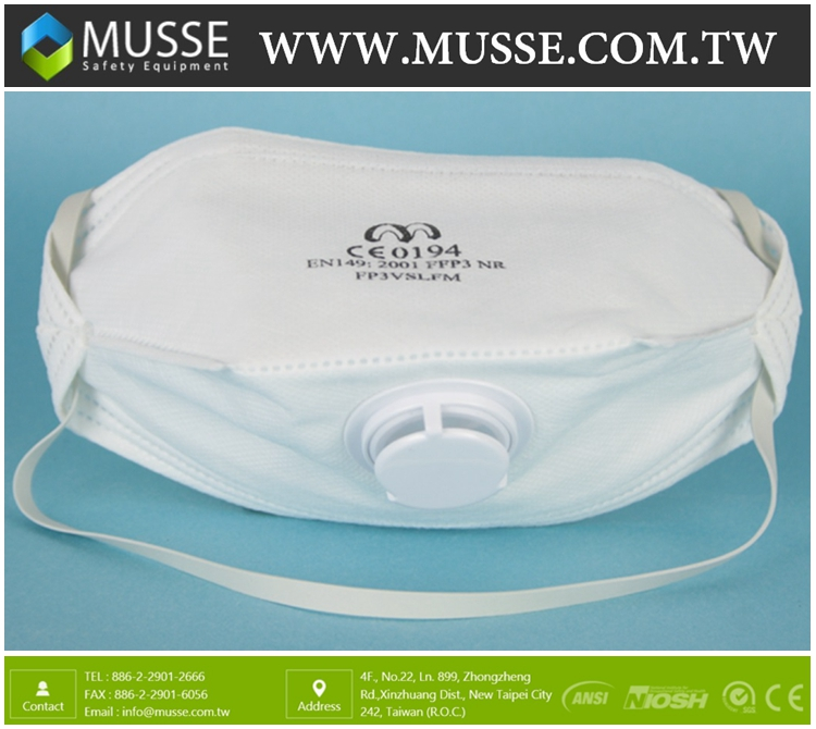 CE FFP3 FP3VSLFM Disposable Particulate Respirator Dust Masks With Exhalation Valve