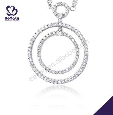2014 double circle design silver cheap fake pearl necklaces