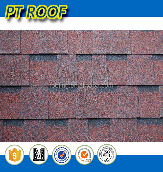 Humidity resistence Hot selling red color Double Decked Laminated asphalt shingle