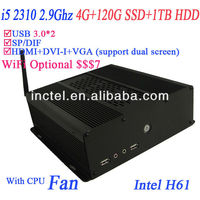 Good quality i5 pc with H61 chipset 4G RAM 120G SSD and 1TB HDD intel i5 quad 2.9Ghz alluminum black chassis HD 2000 Graphic
