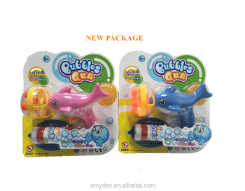 plastic hand pressure fan dolphins bubble gun (4 nozzles) for kids