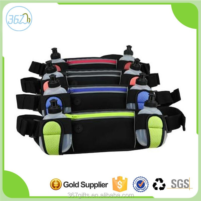 Sports Running Outdoor Water Resistant Waterproof Neoprene Waist Bag with Water Bottle Mobile Phone Holder