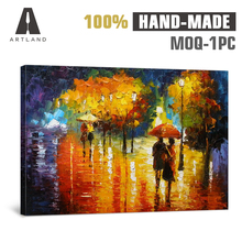 Warm colors romantic abstract street oil painting on canvas