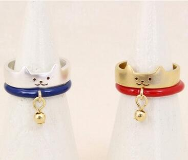 Latest design fashion jewelry ally express cheap wholesale doge ring set with small bell cute for girls