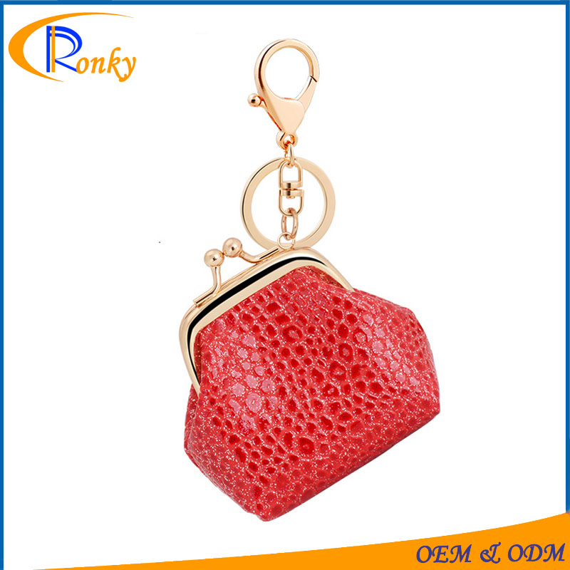 2017 wholesale keychain charms for women pretty leather mini coin purse keychain