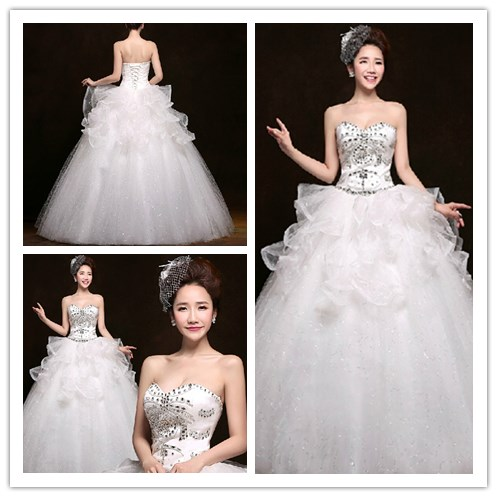 2017 Alibaba White Ball Gown Sweetheart Sleeveless Floor Length Wedding dress bridal gown Dress of Bride