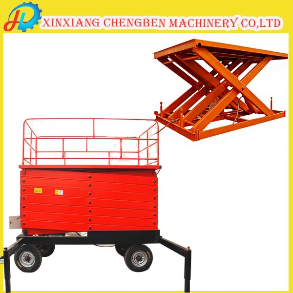 warehouse used small hydraulic scissor cargo lift for outdoor working
