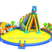 Cartoon inflatable slide park/fun city large inflatable pool toys