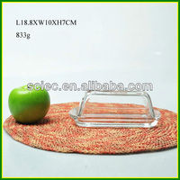 Rectangular Clear Glass Butter Dish