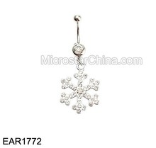 Stainless Steel Crystal Snowflake Belly Button Rings