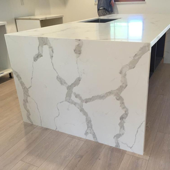 Wholesale custom artificial stone for kitchen countertop white artificial marble calacatta quartz