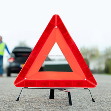 High visibility reflective emergency car warning triangle