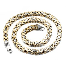Punk Fashion Byzantine Box Chain Necklace for men Stainless Steel Necklace Mens Boys Chain 9mm widt 22.44' length