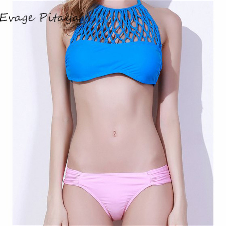 2017 New designs Europe Size halter hollow out high neck padded girls sexy skin-tight bikini lingerie