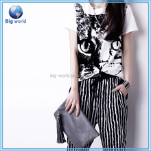 2015 casual Summer harajuku animal print cat t-shirt women t shirt plus size cute tee shirt print Ladies tops