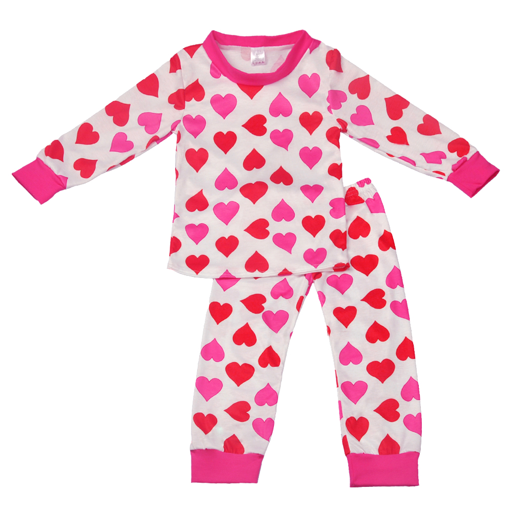 top selling pink baby girl's clothing love pattern cotton Valentine pajamas