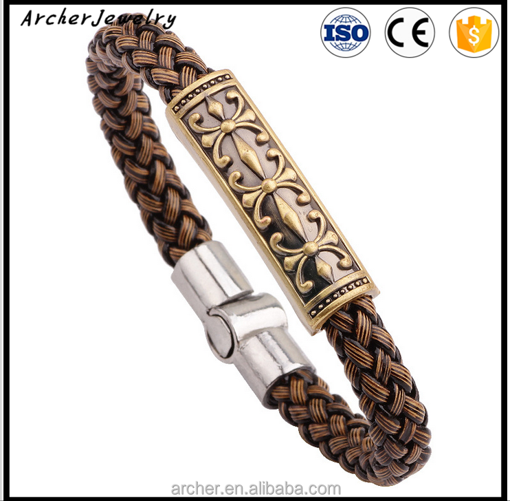 Vintage Wholesale Fashion personalized womens leather stainless steel bracelets BH-050