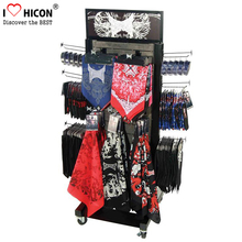 Customized Floorstanding Movable Metal Wood Fashion Silk Scarf Soccer Scarf Display Rack Wholesale